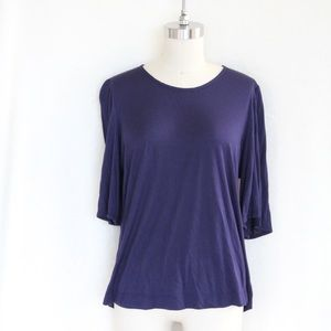 Halogen Navy Flutter Sleeve Blouse